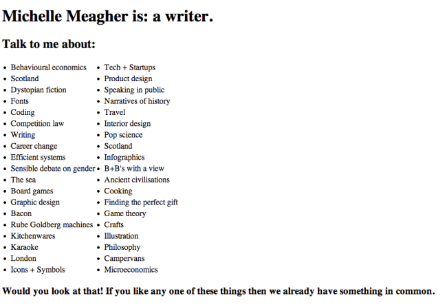 MichelleMeagher.com HTML screenshot